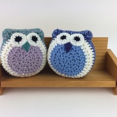 Pair Crochet Owl Softies | Soft Toys | Hand Crocheted | Wool | Lilac Jade Blue