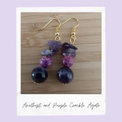 Amethyst and Purple Crackle Agate Gemstone Earrings