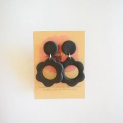 Black polymer clay earrings