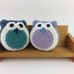 Pair Crochet Owl Softies | Soft Toys | Hand Crocheted | Wool | Blue Jade Lilac