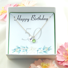 Personalized 50th Birthday Necklace gift,Birthstone Necklace