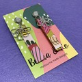 Printed floral stick earrings