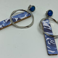 Blue floral stick earrings