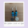 Blue Howlite, Blue Goldstone and Blue Agate Gemstone Flower Dangle Earrings