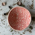 Bright Red Paisley  Porcelain Bowl