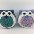 Pair Crochet Owl Softies | Soft Toys | Hand Crocheted | Wool | Blue Jade Lilac