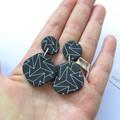 Zig Zag black + white polymer clay earrings - diamond