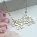 Mama Bear Necklace,Mama Bear Origami Gift Necklace,Origami Mama Bear Necklace