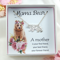 Mama Bear Necklace,Mama Bear Origami Gift Necklace,Origami Mama Bear Necklace
