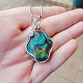 Large Rough Chrysocolla Sterling wire wrapped natural crystal pendant