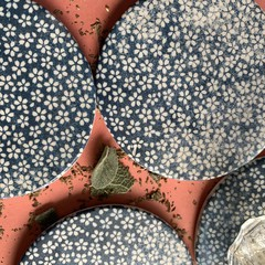 Distressed Look Blue and White Flower Porcelain Coasters (Set of 4)