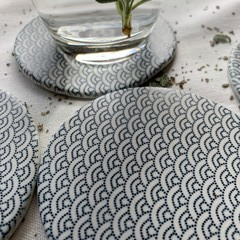 Beautiful Blue Wave Porcelain Coasters (Set of 6)