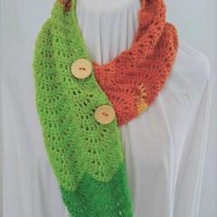 Hand Crocheted Autumn Scarf - Green & Orange