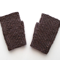 Brown Wool Blend Texting Mitts Small to Medium Adult Size Ready to Ship