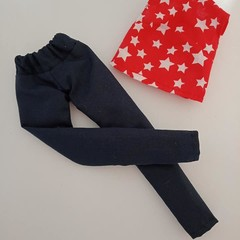 Barbie doll clothes - red and white star top and blue pants set