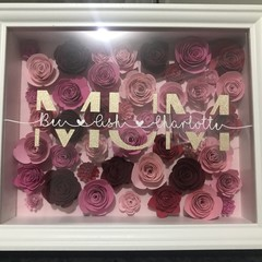 Mum shadow box with children's names