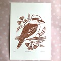 Laughing Kookaburra Linocut Original Artwork / Australian Bird Animal Print
