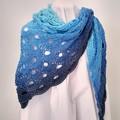 Hand Crocheted Triangular Shawl - Azure