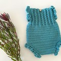 Crochet Ruffle Romper, Size 0 or 6-12m, Baby Girls Playsuit