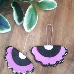 """""""Margie"""", Genuine Leather, Stainless Steel Earrings, Pink/Black"""
