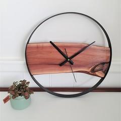 Australian Handmade Wood & Steel Wall Clock, Wood and metal wall art feature