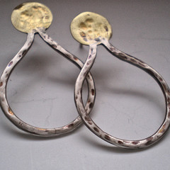 Large Handmade Organic Sterling Silver and Brass earrings