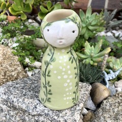 """Green Lady""  Hand made Vase"