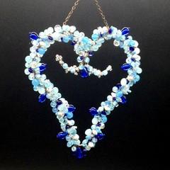 Blue heart shaped sun catcher