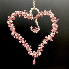Deep Pink Heart sun catcher