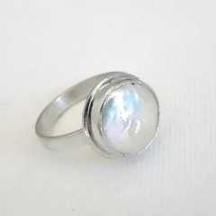 White coin pearl and sterling silver ring/ready to ship