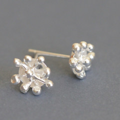 Petite. Romantic. Sweet little earrings hand fabricated sterling silver studs.Ma