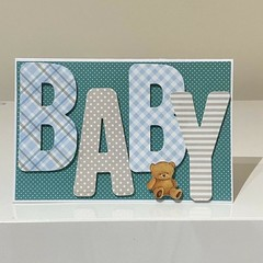 Handmade Greeting Card - Baby Card with Teddy Blue Boy