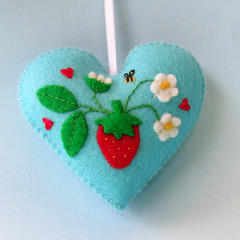 Embroidered Felt Heart Ornament, Strawberry Decoration, Berry, Keepsake Gift