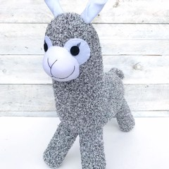 'Alvin' the Sock Alpaca - black, grey & white marle  - *READY TO POST*
