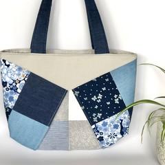 Ladies Handbag - Blue Denim and Cream Patches
