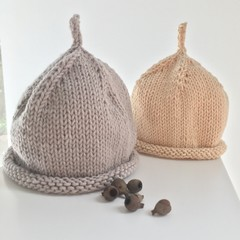 Pure Cotton Baby Hat, Hand Knitted, Stone/ beige