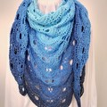 Hand Crocheted Triangular Shawl - Azure
