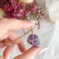 Purple Fluorite pendant - Gold 40cm