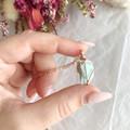Raw Amazonite pendant - Rose Gold 40cm