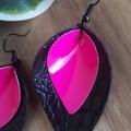 VEGAN,  Pinched Petal, Faux Leather Earrings, Black/Green, Black/Pink