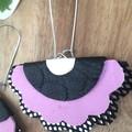 Scalloped Fan, Genuine Leather Earrings, Stainless Steel, Pink/Black