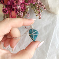 Blue Apatite pendant - Silver 50cm