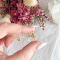 Tiny Clear Quartz pendant - Gold 40cm