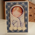 Handmade Greeting Card - Baby Snuggles - Blue, New Baby Boy Card