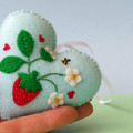 Embroidered Felt Heart Ornament, Strawberry Decoration, Berry, Keepsake Gift