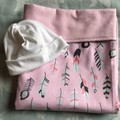 Baby Blanket Feathers Pink