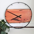 Australian Handmade Wood & Steel Wall Clock, Wood and metal wall art feature