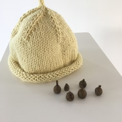 Pure Cotton Baby Hat, Hand Knitted, Butter Yellow