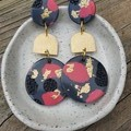 Grey, pink & gold dangles