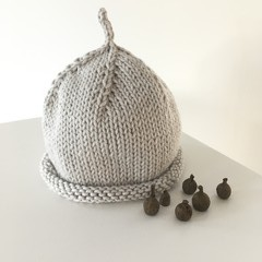 Pure Cotton Baby Hat, Hand Knitted, Grey